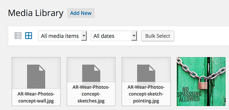 Media Library grey thumbnails